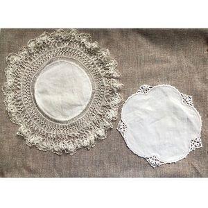 2 Antique Handmade Lace Dresser Linens
